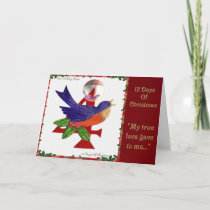 12 Days of Christmas Four Calling Birds Holiday Card