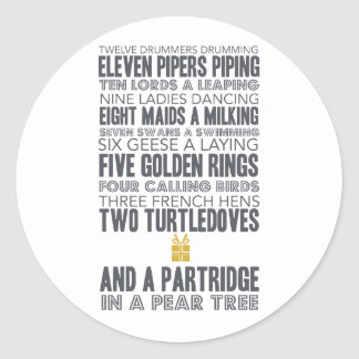 12 Days of Christmas | Gold Classic Round Sticker