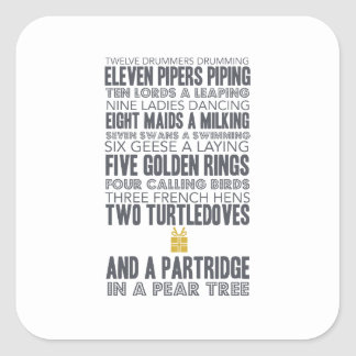 12 Days of Christmas | Gold Square Sticker
