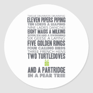 12 Days of Christmas | green Classic Round Sticker
