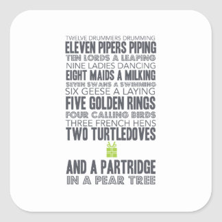 12 Days of Christmas | Green Square Sticker