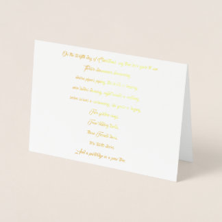 12 Days of Christmas Lyrics Foil Christmas Card