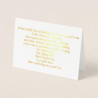 12 Days of Christmas Lyrics Foil Christmas Card