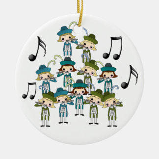 12 Days of Christmas Double-Sided Ceramic Round Christmas Ornament