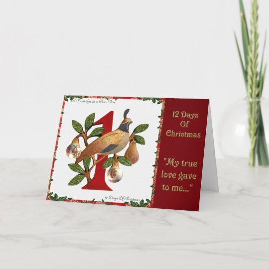 12 Days of Christmas Partridge in a Pear Tree Holiday Card   Zazzle.com