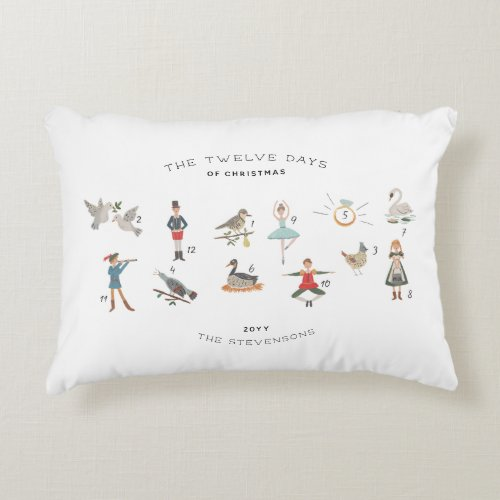 12 Days of Christmas Personalized Keepsake Accent Pillow