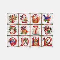 12 Days Of Christmas Quilt Print Gifts Fleece Blanket