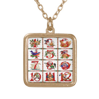 12 Days Of Christmas Quilt Print Gifts Gold Plated Necklace