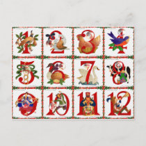 12 Days Of Christmas Quilt Print Gifts Holiday Postcard