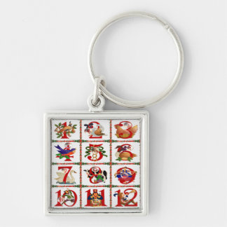 12 Days Of Christmas Quilt Print Gifts Keychain
