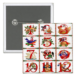 12 Days Of Christmas Quilt Print Gifts Pinback Button