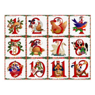 12 Days Of Christmas Quilt Print Gifts Postcard