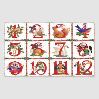 12 Days Of Christmas Quilt Print Gifts Rectangular Sticker