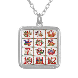 12 Days Of Christmas Quilt Print Gifts Silver Plated Necklace