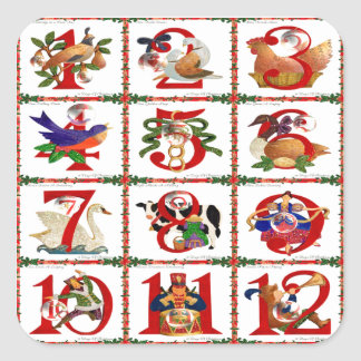 12 Days Of Christmas Quilt Print Gifts Square Sticker