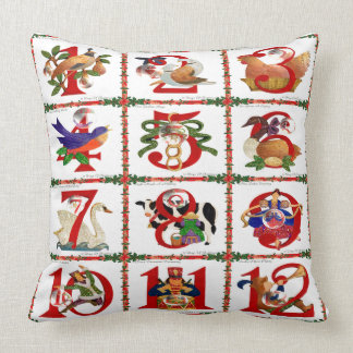 12 Days Of Christmas Quilt Print Gifts Throw Pillow