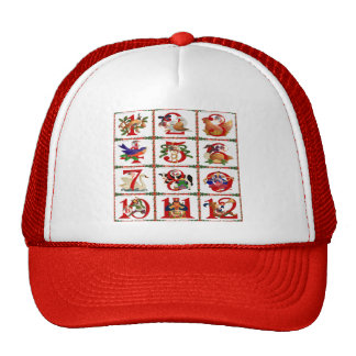 12 Days Of Christmas Quilt Print Gifts Trucker Hat