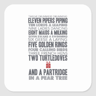 12 Days of Christmas | Red Square Sticker