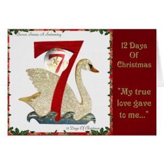 12 Days of Christmas Seven Swans A Swimming Card