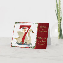 12 Days of Christmas Seven Swans A Swimming Holiday Card