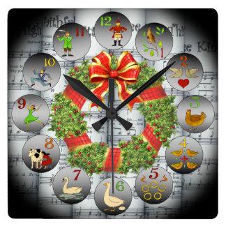 12 Days Of Christmas ~Sheet Music~Christmas Wreath Square Wall Clock