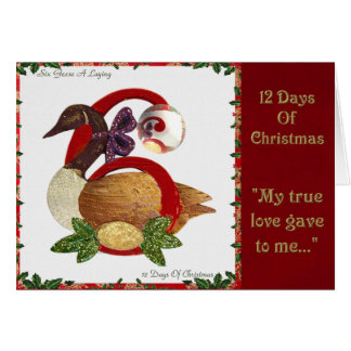 12 Days of Christmas Six Geese A Laying Card