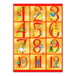 12 Days of Christmas Song Folk Art Numbers 4.5x6.25 Paper Invitation Card