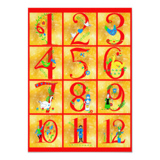 12 Days of Christmas Song Folk Art Numbers Card