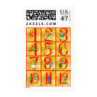 12 Days of Christmas Song Folk Art Numbers Postage