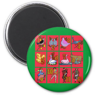 12 Days of Christmas T-shirts, Apparel, Gifts 2 Inch Round Magnet