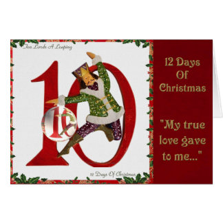 12 Days of Christmas Ten Lords A Leaping Greeting Card
