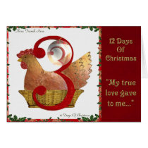 12 Days of Christmas Three French Hens Card
