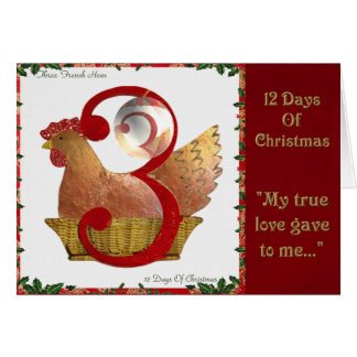 12 Days of Christmas Three French Hens Greeting Card