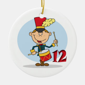 12 Days of Christmas Twelve Drummers Drumming Double-Sided Ceramic Round Christmas Ornament