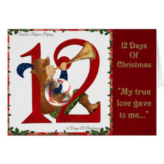 12 Days of Christmas Twelve Pipers Piping Greeting Card
