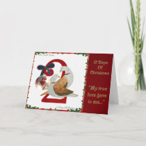 12 Days of Christmas Two Turtle Doves Holiday Card