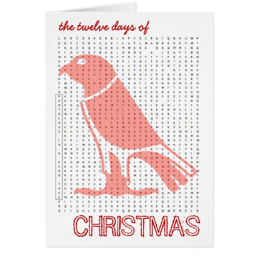 12 Days Of Christmas Word Search Card 2