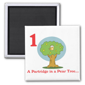 12 days partridge in a pear tree 2 inch square magnet