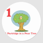 12 days partridge in a pear tree classic round sticker