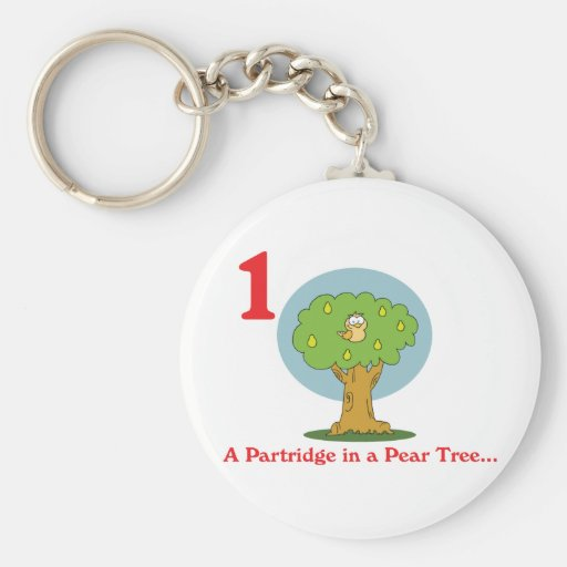 12 days partridge in a pear tree basic round button keychain