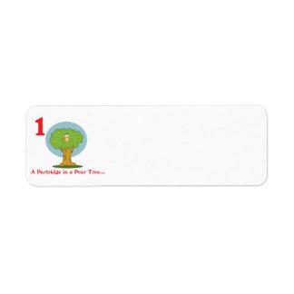 12 days partridge in a pear tree return address label