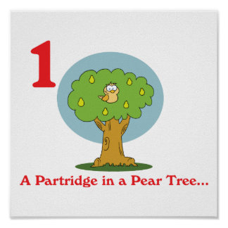 12 days partridge in a pear tree poster