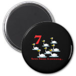 12 days seven swans a-swimming 2 inch round magnet