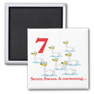 12 days seven swans a-swimming 2 inch square magnet