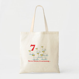12 days seven swans a-swimming budget tote bag