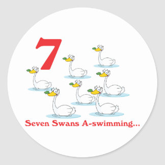 12 days seven swans a-swimming classic round sticker
