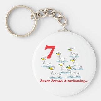 12 days seven swans a-swimming basic round button keychain