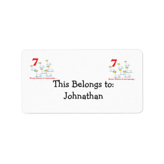 12 days seven swans a-swimming address label