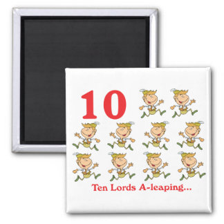 12 days ten lords a-leaping 2 inch square magnet