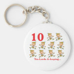 12 days ten lords a-leaping basic round button keychain